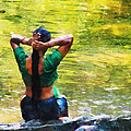 After the River Bathing. Indian Woman. Impressionism Poster by Jenny Rainbow