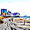 Afternoon at the Beach Print by Angela Hodges Clay