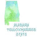 Alabama - Yellowhammer State - Map - State Phrase - Geology Poster by Andee Design