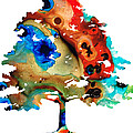 All Seasons Tree 3 - Colorful Landscape Print Print by Sharon Cummings