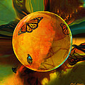 Ambered Butterfly Orb Print by Robin Moline