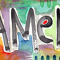 AMEN- colorful word art painting Print by Linda Woods