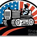 American Farmer Riding Vintage Tractor Poster by Aloysius Patrimonio