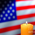 American Flag and Candle Poster by Olivier Le Queinec