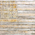 American Flag on Distressed Wood Beams White Yellow Gray and Brown Flag Print by Design Turnpike