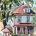 American Home with Children's Gazebo Poster by Kip DeVore