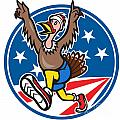American Turkey Run Runner Cartoon Poster by Aloysius Patrimonio