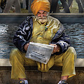 Americana - People - Casually reading a newspaper Poster by Mike Savad