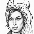 Amy Winehouse Print by Olga Shvartsur