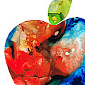 An Apple A Day - Colorful Fruit Art By Sharon Cummings  Print by Sharon Cummings