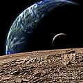 An Earth-like Planet In Deep Space Print by Marc Ward