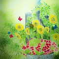 Angel with Butterflies and Sunflowers Print by Melanie Palmer