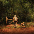 Animal - Dog - A man and his best friend Print by Mike Savad