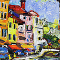 Annecy France Canal and Bistros Impressionism Knife Oil Painting Print by Ginette Fine Art LLC Ginette Callaway