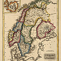 Antique Map of Scandinavia by Fielding Lucas - circa 1817 Print by Blue Monocle