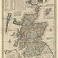 Antique Map of Scotland by Emanuel Bowen - 1752 Print by Blue Monocle