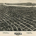 Antique Map of Tulsa Oklahoma by Fowler and Kelly - 1918 Print by Blue Monocle