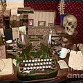 Antique Oliver Typewriter on Old West Physician Desk Print by Janice Rae Pariza