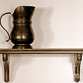 Antique Pewter Pitcher on Old Wood Shelf Poster by Olivier Le Queinec