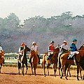 Approaching the Starting Gate Print by Mary Helmreich