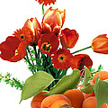 Apricots and Red Roses Print by Munir Alawi
