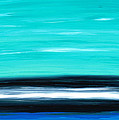 Aqua Sky - Bold Abstract Landscape Art Print by Sharon Cummings