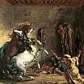 Arabian Horses Fighting in a Stable Print by Eugene Delacroix