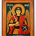Archangel Michael hand-painted wooden holy icon orthodox iconography icons ikons Poster by Denise Clemenco