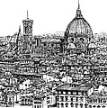 Architecture of Florence skyline in ink  Poster by Lee-Ann Adendorff