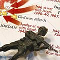 Army Man lying on Middle East Conflicts Map Poster by Amy Cicconi