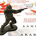 Army Man standing on Middle East Conflicts Map Poster by Amy Cicconi