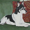 Ashley On Her Sofa Print by Sandra Chase