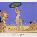 At the Lido Print by Georges Barbier