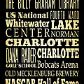 Attractions and Famous Places of Charlotte North Carolina Print by Joy House Studio