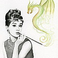 Audrey and Her Magic Dragon Print by Olga Shvartsur