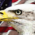 Bald Eagle Art - Old Glory - American Flag Print by Sharon Cummings