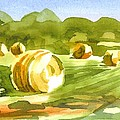 Bales in the Morning Sun Print by Kip DeVore