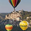 Balloons at Rocamadour Midi Pyrenees France Poster by Colin and Linda McKie