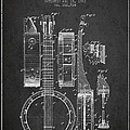 Banjo patent Drawing from 1882 Dark Print by Aged Pixel