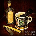 BARBER - SHAVING MUG AND TOILET WATER Print by Paul Ward