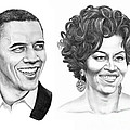 Barrack and Michelle Obama Print by Murphy Elliott