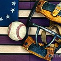 Baseball Catchers Mask Vintage on American Flag Print by Paul Ward