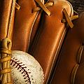 Baseball Glove And Baseball Poster by Chris Knorr