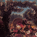 Basket of Flowers in a Park Print by Eugene Delacroix