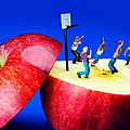 Basketball games on the apple little people on food Poster by Paul Ge
