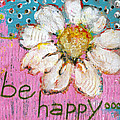 Be Happy Daisy Flower Painting Poster by Blenda Studio