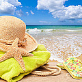 Beach Bag With Sun Hat Poster by Amanda And Christopher Elwell