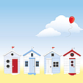 Beach huts Print by Jane Rix