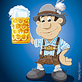 Beer Stein Lederhosen Oktoberfest Cartoon Man Print by Frank Ramspott