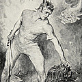 Beowulf shears off the head of Grendel Print by John Henry Frederick Bacon